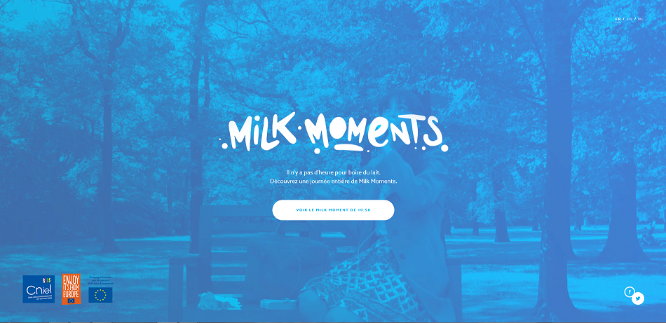 Homepage du site internet Milk Moments