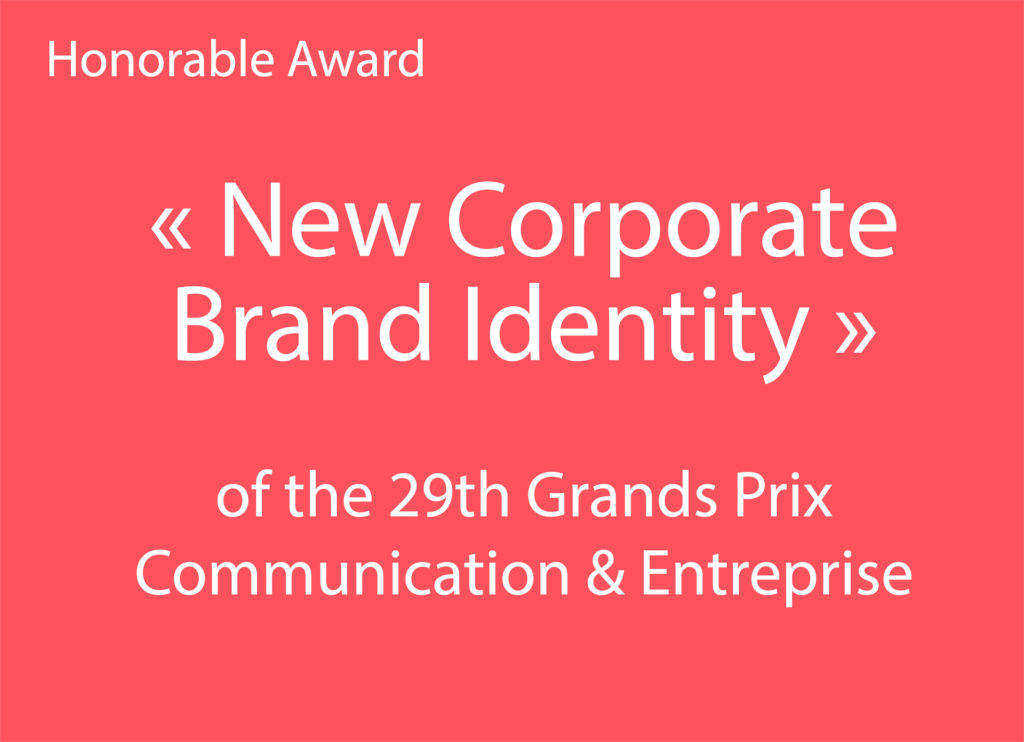 "Text: ""New corporate brand identity"" of the 29th Grands Prix Communication et Entreprise"