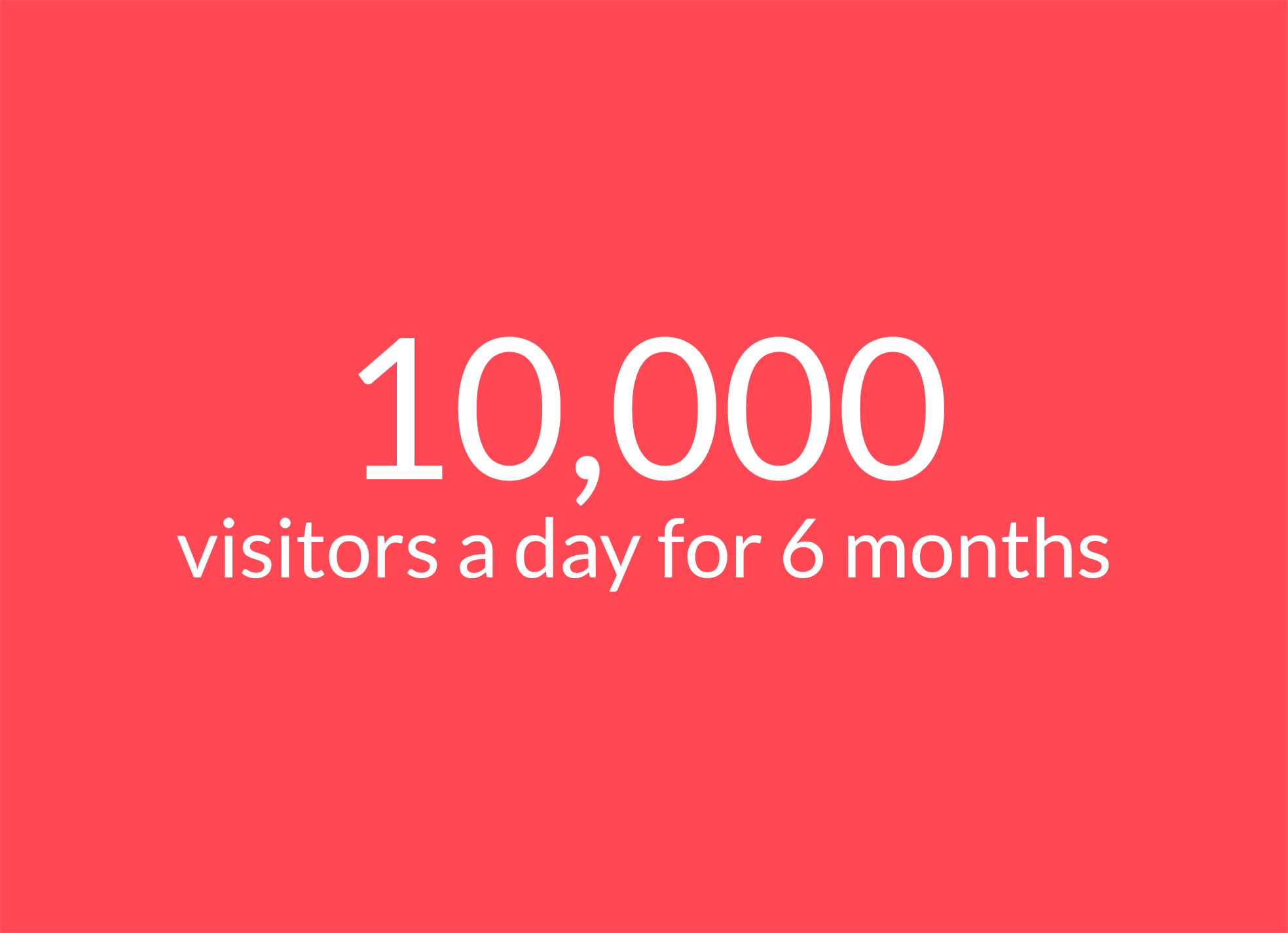 Text: 10,000 visitors a day for 6 months
