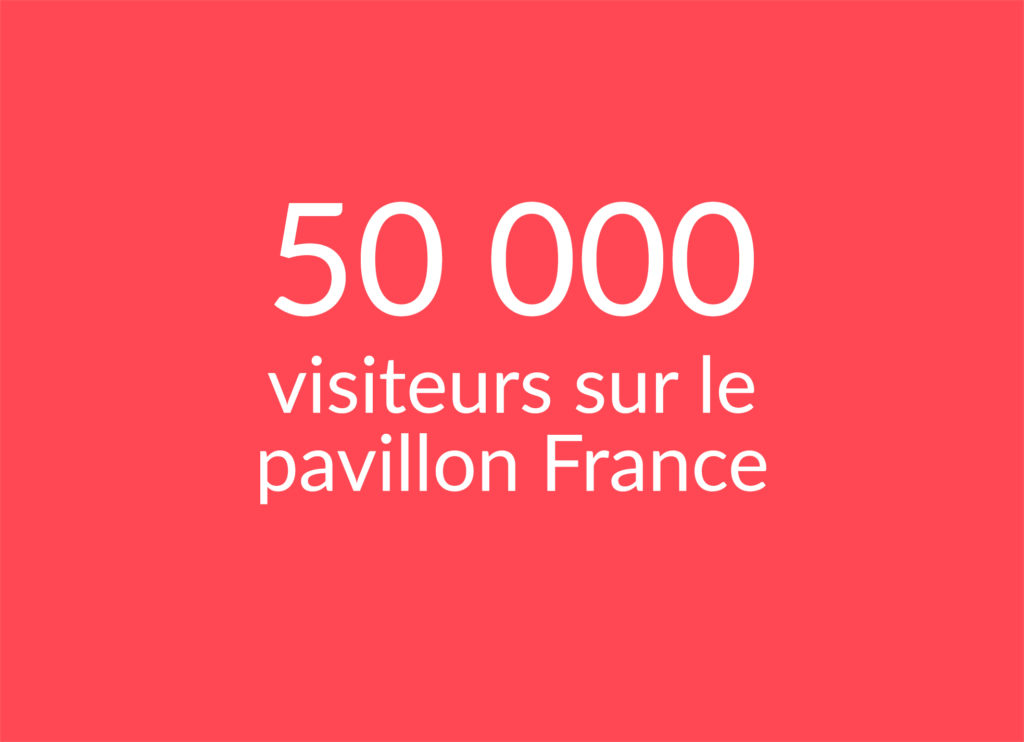 Text: 50 000 visiteurs sur le Pavillon France